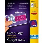 """Avery® Clean Edge Inkjet Business Cards, 3-1/2"""" x 2"""", Linen Texture, 200/Pack, (38873)"""