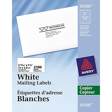 Avery® White Copier Address Labels, 2-13/16