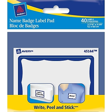 Avery® Name Badge Label Pad, Blue Border, 2-7/16