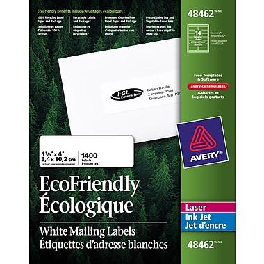 Avery® 48462 Étiquettes d'adresse écologiques Easy Peel, blanches, laser/jet d'encre, 4