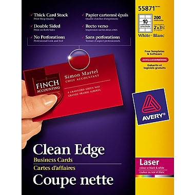 Avery® Clean Edge Laser Business Cards, 3-1/2