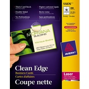 """Avery® Clean Edge Laser Business Cards, 3-1/2"""" x 2"""", Ivory, 200/Pack, (55876)"""