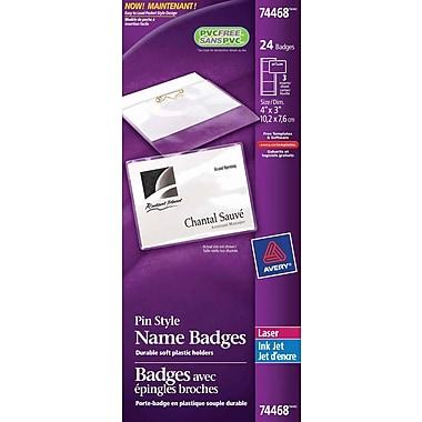 Avery® - Ensemble d'insigne d'identification de type à épingle, souple, laser/jet d'encre, 3 po x 4 po, boîte de 24
