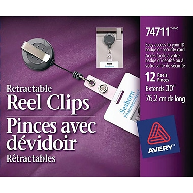 Avery® Retractable Reel Clips, 30
