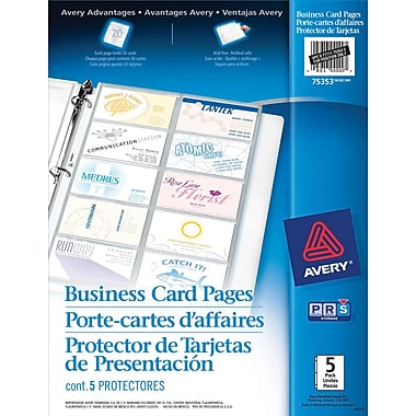 Avery® Business Card Pages, Clear, 5/Pack, (75353)