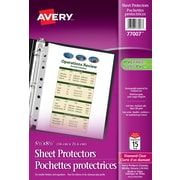 """Avery® 77007 Pochettes protectrices, 5-1/2"""" x 8-1/2"""", transparentes, 15/paquet"""
