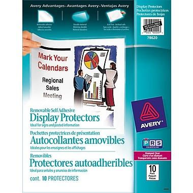 Avery® 78620 Pochettes protectrices de présentation, autocollantes, amovibles, transparentes, 10/paquet