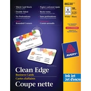 """Avery® Rounded Corners Clean Edge Inkjet Business Cards, 3-1/2"""" x 2"""", White, 160/Pack (88220)"""