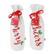 DEI Merry and Bright Holiday Words Wine Bag Set