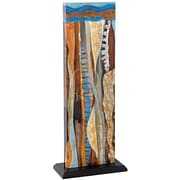 Majestic Mirror Unique Rectangular Abstract Freestanding Colorful 3D Mixed Media Painting Print