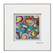 Majestic Mirror Square Colorful Abstract Glass Framed Painting Print