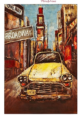 Majestic Mirror Large New York Taxi Mixed Media Painting Print Plaque