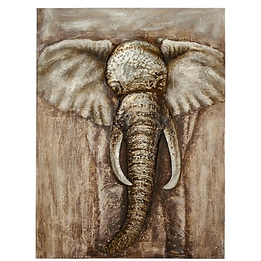 Majestic Mirror Large Rustic Elephant Painting Print on Canvas