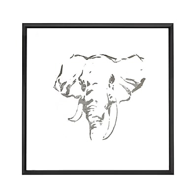 Majestic Mirror Square Abstract Elephant Mirror Framed Painting Print on Canvas
