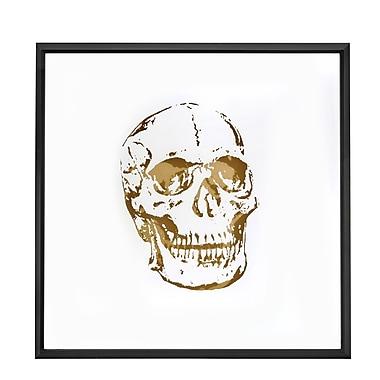 Square Abstract Skull Gold Shadow Box Art w/ Thin Semi Gloss Black Framed Painting Print