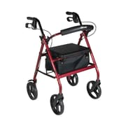 Aluminum Rollator with Removable Wheels, Red