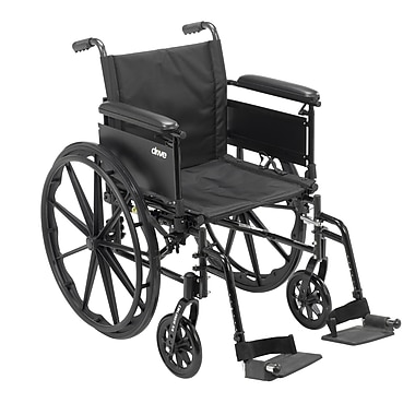 Cruiser X4 Lightweight Dual Axle Wheelchair with Adjustable Detachable Arms, Full Arms, Swing Away Footrests, 18