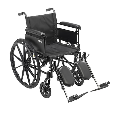 Cruiser X4 Lightweight Dual Axle Wheelchair with Adjustable Detachable Arms, Full Arms, Elevating Leg Rests, 20