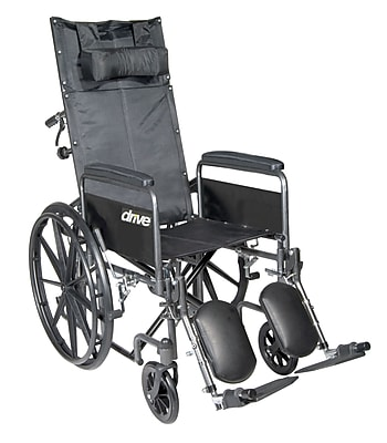Silver Sport Reclining Wheelchair with Elevating Leg Rests, Detachable Full Arms, 18