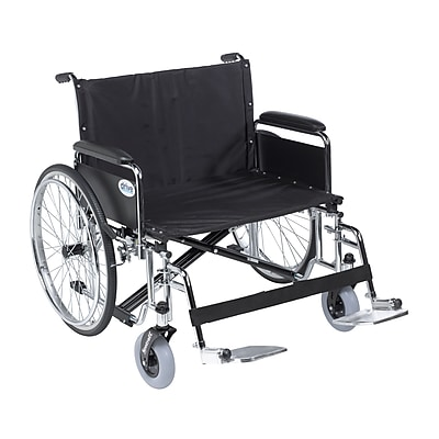 Sentra EC Heavy Duty Extra Wide Wheelchair, Detachable Full Arms, Swing away Footrests, 30