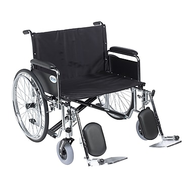 Sentra EC Heavy Duty Extra Wide Wheelchair, Detachable Full Arms, Elevating Leg Rests, 30