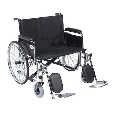 Sentra EC Heavy Duty Extra Wide Wheelchair, Detachable Full Arms, Elevating Leg Rests, 26