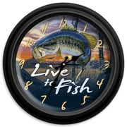 ReflectiveArt Classic Wildlife 16'' Live to Fish Wall Clock