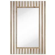 Majestic Mirror Rectangular Mirror w/ Natural Wood Stripes Beveled Glass Hanging Wall Mirror