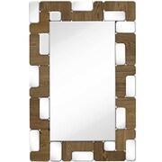 Majestic Mirror Rectangular Mirror Light Walnut Wood Beveled Glass Hanging Wall Mirror