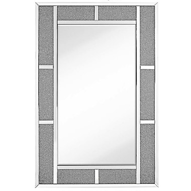 Majestic Mirror Contemporary Beveled Glass w/ Glass Beads Rectangular Accent Mirror