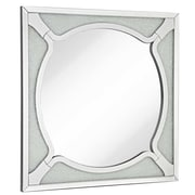 Majestic Mirror Square Wood Frame Round Beveled Mirror w/ Glass Beads Accent Wall Mirror