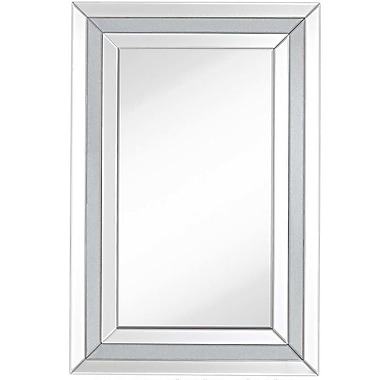 Majestic Mirror Contemporary Rectangular Beveled Glass w/ Glitter Panels Accent Wall Mirror