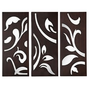 Majestic Mirror Large Set of 3 Mirror Art Panels in Wenge