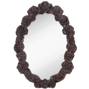 Majestic Mirror Black w/ Red Highlights Molded Rose Oval Mirror