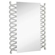 Majestic Mirror Rectangular Modern Accent Mirror w/ Silver Leafs Details