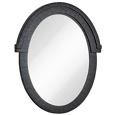 Majestic Mirror Round Black w/ Natural Wood Grain Oval Glass Shaped Hanging Wall Mirror