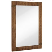 Majestic Mirror Large Rectangular Mirror w/ Stained Wood Frame and Brass Accents