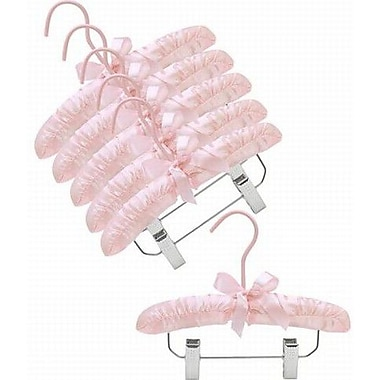 Only Hangers Inc. Infant Satin Padded Nursery Hanger w/ Clips (Set of 6); Pink