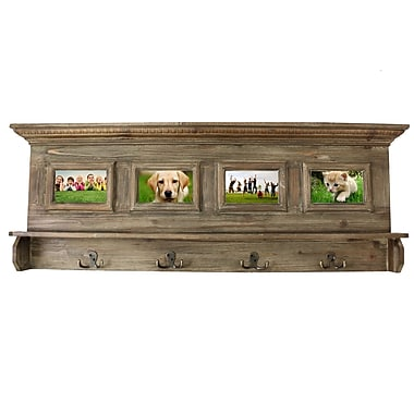 EC World Imports Antiqued Handcrafted Family Album Picture Frame Coat Rack