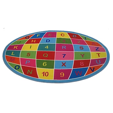 Fun Rugs Fun Time Alpha Numeric Globe Area Rug; 6'8'' x 10'