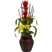 Tori Home Bromedliad and Orchid Combo w/ Planter; Yellow