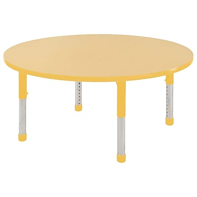 """48"""" Round T-Mold Activity Table, Maple/Yellow/Chunky"""