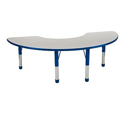 "36""x72"" Half Moon T-Mold Activity Table, Grey/Blue/Chunky"