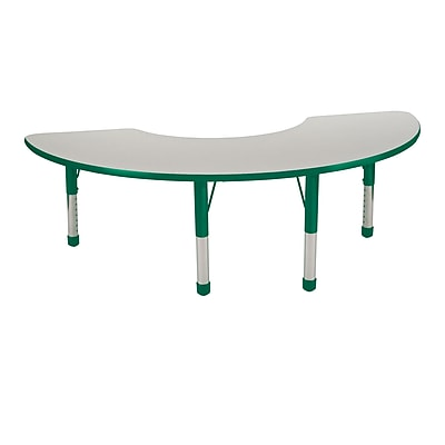 36�x72� Half Moon T-Mold Activity Table, Grey/Green/Chunky