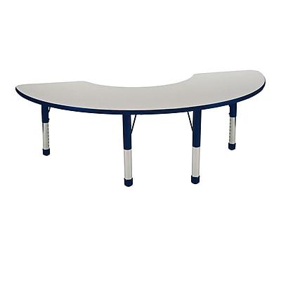 """36""""x72"""" Half Moon T-Mold Activity Table, Grey/Navy/Chunky"""