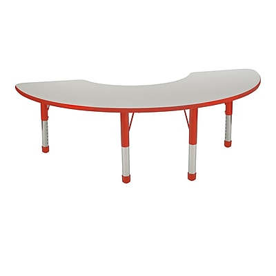 "36""x72"" Half Moon T-Mold Activity Table, Grey/Red/Chunky"