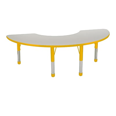 "36""x72"" Half Moon T-Mold Activity Table, Grey/Yellow/Chunky"