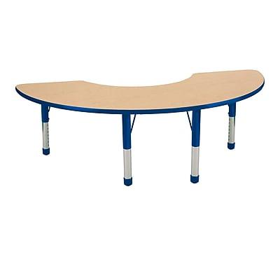 """36""""x72"""" Half Moon T-Mold Activity Table, Maple/Blue/Chunky"""