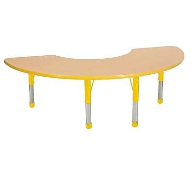 "36""x72"" Half Moon T-Mold Activity Table, Maple/Yellow/Chunky"