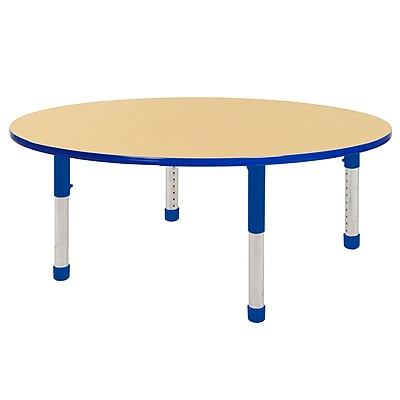 "60"" Round T-Mold Activity Table, Maple/Blue/Chunky"